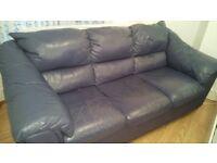 Leather Blue Sofa .3 seater