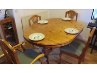 Oval pine extending dining table for 6-8 people