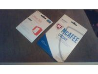 Microsoft Office 365, 1 year personal subscription+ Mcafee Livesafe Anti-Virus software