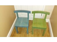 Two children's wooden chairs