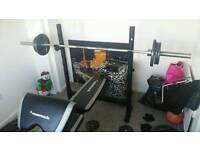 Maximuscle olympic weight bench and weights