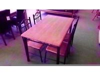 GOOD CONDITION! solid pine topped metal frame table and four pine topped chairs