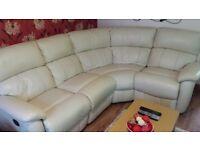 £350 Cream leather corner sofa