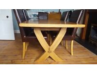 Solid Oak Extending Dining Room Table & 6 Chairs