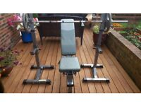 Weights bench with stands, bars and weights
