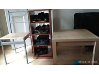 Shoe rack, Table and chair