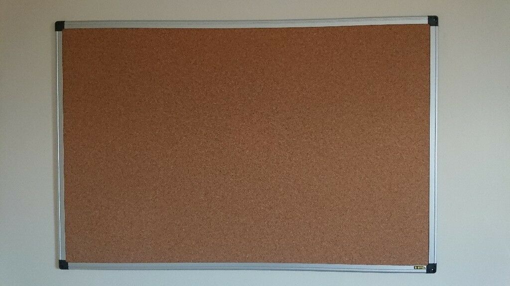 Large Office Cork Board Metal Rim Solid Design With A Pack Of Transpa