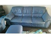 2 & 3 seater blue leather sofas + pouffe
