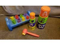Stacking cup & shape sorter with squeaky hammer