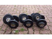 Three Sets of Dumbells - 10kg / 12.5kg / 15kg