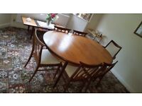 G Plan Dining table, 5 chairs and carver