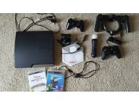 Sony Play Station 3 Slim 320GB Charcoal Black Console (CECH-2503B), 3 controllers and more extras