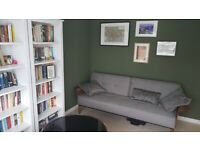 Dunelm Double Sofa / Sofa Bed - Grey with Wooden Arms