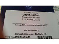 Justin bieber ticket pit j for london o2