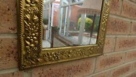 Vintage Mid-Century Art & Craft Brass Framed Wall Mirror