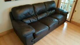 Reids 3 and 2 seater sofa brown leather