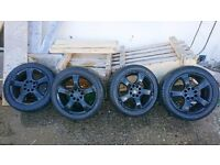 """15"""" black alloy wheels with tyres size 195/50/15"""