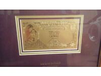 PURE GOLD £5 NOTE IN FRAME LTD EDITION