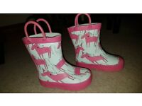 Next, baby girl pink, white wellies, size 5 infant