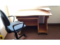 Solid desk with chair in excellent condition