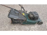 Hayter Harrier 48 petrol self propelled mower with roller and grass box