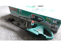 BOSCH CORDLESS HEDGE TRIMMER, FULL WORKING ORDER BUT NEEDS BATTERY, £10;