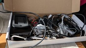 Box of Electronics, USB chargers, battery bank...
