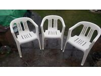 Three patio chairs - UPVC