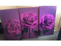 3 purple canvas's