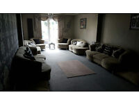 Luxury Fabric Sofas + Relaxing sofas + Arm chairs + coffee table/ Wedding/ Decorative/ Urgent Sale