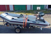 for sale or swap Imacculate boat/rib/tender, Yamaha 300 S, yamaha 4hp 4 stroke and Trailer