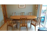 Nathan Retro Teak Extending Dining Table and 6 Chairs