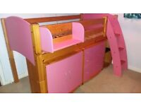 Girls pink mid sleeper and furniture set
