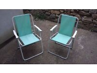 2 folding lawn chairs for sale