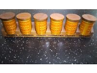 """Retro Hornsea """"Saffron"""" Spice containers with Wooden Rack"""