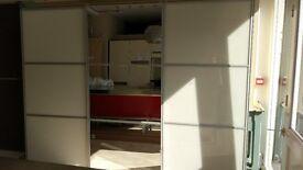New 3x Sliding Wardrobe Soft White Glass Minimalist Doors 2122H x 2846W - Customer Mismeasure