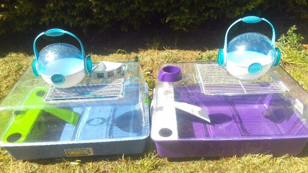 Pair of Savic Rody Hamster cages and Habitrail carriers