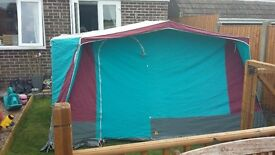 red and blue framed tent four berth exce condition.