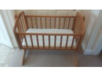 Baby Swinging Crib with Mattress & Fitted Sheets