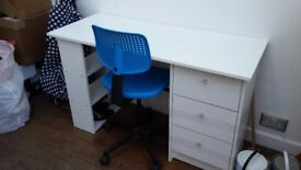Argos white Malibu desk and chair
