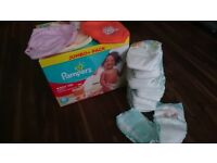 unopened box of size 6 pampers pull up pants (pack of 64) + more standard nappies