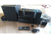 Onkyo TXSR606 Cinema Amplifier, with Jamo A102HCS5 surround speakers and Subwoofer.