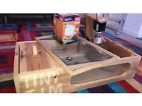 Reptile table with uva uvb basking bulb