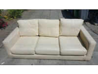 3 Seater Cream Leather Sofa For Sale £30.00 Very Comfortable Bargain Price