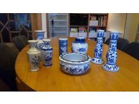 Mixed blue and white china - Chinese vases, candlesticks