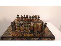 ANTIQUE Vintage Aztec Style Great Graphic Chess Set Rare
