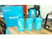 job lot of kitchen appliances microwave kettle toaster breading coffee tea sugar canisters
