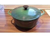 Le Cousances size 22 cast iron round casserole, green, used in good condition.