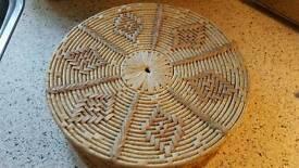 6 x Large Round Wicker Mats in Wicker Storage
