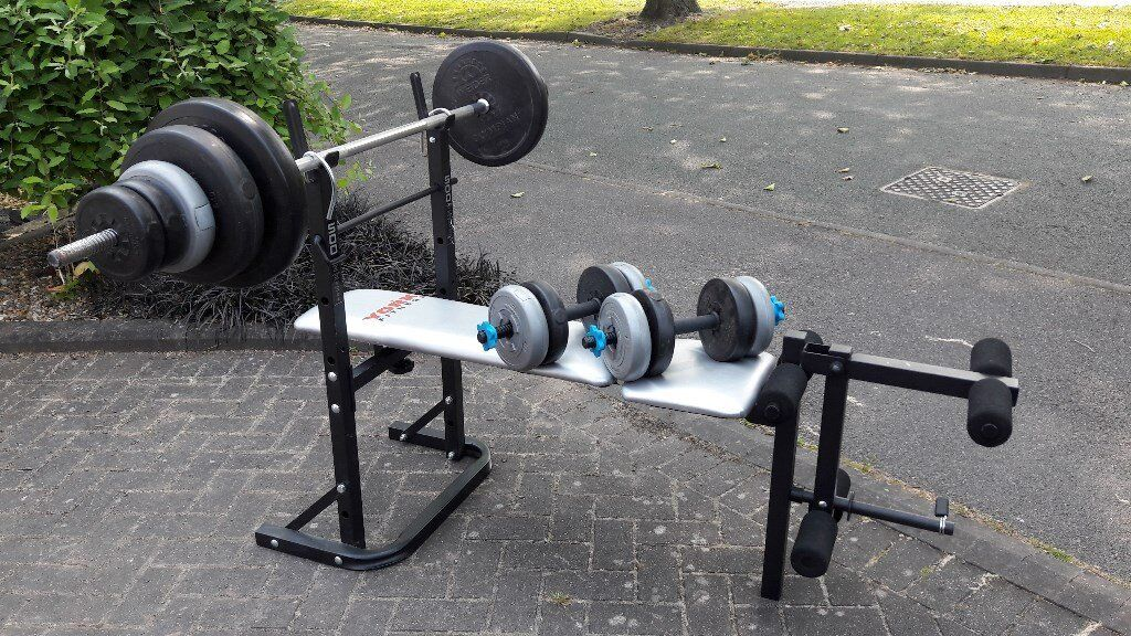 YORK BENCH WITH 56KG WEIGHTSBARSin Walsall, West MidlandsGumtree - YORK WEIGHTS BENCH WITH FLAT & INCLINE BENCH PRESS POSITIONS & LEG CURL ATTACHMENT WITH SPRING COLLAR. BENCH FOLDS AWAY NICE & EASILY. COMES WITH 5.5FT CHROME STRAIGHT BAR & 2 DUMBBELL BARS WITH 4 SPINLOCKS. 2 x 10KG, 2 x 6KG, 10 x 2KG, 4 x 1KG....